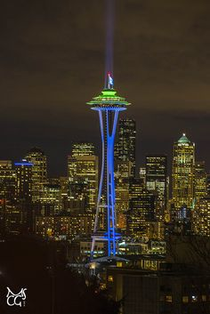 The space Needle decked out in Seahawk colors!