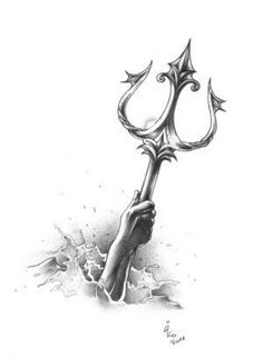 I have always loved Greek mythology, Poseidon's Trident without the hand and may. - I have always loved Greek mythology, Poseidon's Trident without the hand and maybe with more detai - God Tattoos, Future Tattoos, Body Art Tattoos, Tattoo Drawings, Sleeve Tattoos, Tattoo Sketches, Poseidon Tattoo, Poseidon Trident, Poseidon Drawing