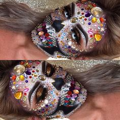 Bejewelled, sparkly, silver, skull makeup for Halloween Dead Makeup, Scary Makeup, Fx Makeup, Helloween Make Up, Sugar Skull Makeup, Sugar Skulls, Fantasy Make Up, Theatrical Makeup, Special Effects Makeup