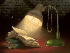 Light reading / Luz lectora (ilustración de Vladimir Kush)
