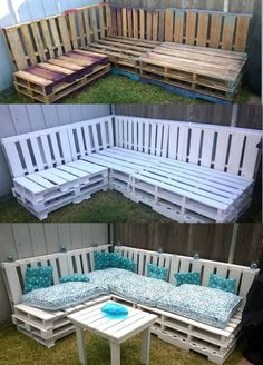 Pallet Corner Couch for Indoor and Outdoor Deck Furniture, Recycled Furniture, Pallet Furniture, Pallet Couch, Pallet Patio, Wooden Pallets, 1001 Pallets, Diy Pallet Projects, Pallet Ideas