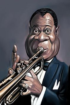 Beautiful Caricatures by Marco Calcinaro | The Design Inspiration.   Louis Armstrong