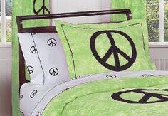 Lime Groovy Peace Sign Tie Dye Pillow Shams by Sweet Jojo Designs  Order at http://amzn.com/dp/B002YDLUHS/?tag=trendjogja-20