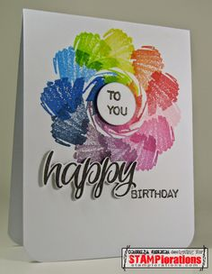 Card by Cornelia using Vignette: Celebrate Artsy and Sentiment Builders: Happy [with photo tutorial]
