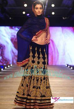Lavish Deep Blue Gold Work Silk Bridal Lehenga