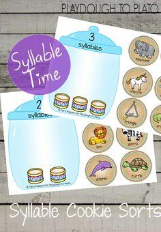 Syllable Cookie Jar Sort - Playdough To Plato Syllables Kindergarten, Beginning Of Kindergarten, Preschool Literacy, Teaching Phonics, Free Preschool, Phonics Activities, Kindergarten Activities, Early Literacy, Preschool Centers