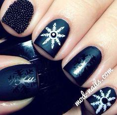 Black caviar snowflake nails #snowflakes #nailart #nails