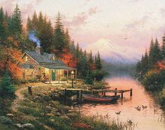"Thomas Kinkade ""Cabin in the Forest"""