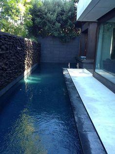 узкий бассейн, который проходит по всему дому и сохраняет конфиденциальность с каменной стеной