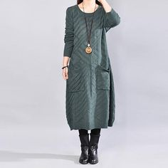 Women Solid Green Long Sleeve Pockets Sweater Dress Winter Sweater Dresses, Cardigan Sweaters For Women, Sweater Outfits, Cardigans For Women, Fall Outfits, Fit S, Sweater Weather, Shirt Dress, Clothes For Women