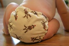 Organic Cotton Sock Monkey One Size Cloth Diaper by browncowcotton, $18.95
