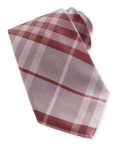 N2NN5 Burberry Check Textured Silk Tie, Coral