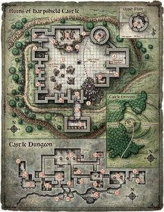 Floorplan maps of the castle.DnD Next (Forgotten Realms - originally ADnD) - Dreams of the Red Wizards, Scourge of the Sword Coast. Ruins of Harpshield Castle Fantasy City, Fantasy Castle, Fantasy Map, Dark Fantasy, Dungeons And Dragons, Pathfinder Maps, Rpg Map, Building Map, Adventure Map