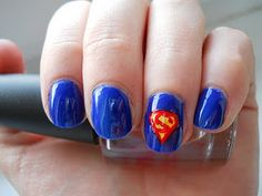 This isn't the best picture of super man nails, but you get the idea(: