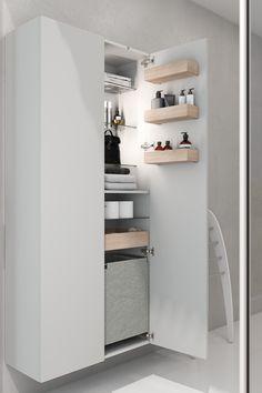 Danish design for the minimalist bathroom Minimalist Bathroom, Storage Room, Storage Cabinets, Danish Design, Master Bathroom, Space, Apartment Ideas, Interior Ideas, Trays