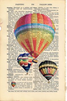 Dictionary Art Print Hot Air Balloons 6 3/4 x 9 por PagesOfAges
