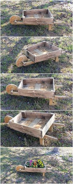 You will love out this amazing pallet wheel barrow planter idea for adding it as the sort of decoration accessory in your house garden area. This creation is made innovatively awesome with the highlighting effect of the rustic light brown color effect use in it. It would definitely grab the attention of the people coming all the way into your home.