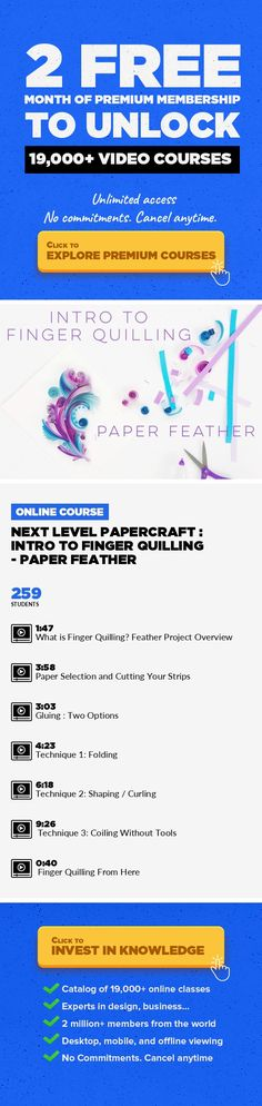 Next Level PaperCraft : Intro to Finger Quilling - Paper Feather Art, Crafts, DIY, Fine Art, Lifestyle, Quilling, Visual Arts, Creative #onlinecourses #onlineeducationprofessionaldevelopment #learning    Create a surprisingly intricate paper feather using three simple shapes you'll learn in this class. You'll learn how to fold, curl and coil thin paper strips completely by hand. Using the trad...