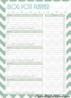 A Typical English Home: Blogging Printables: Post Planner and Blog Ideas