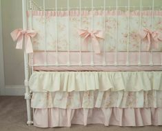 Vintage Floral Shabby Chic Baby Pink Rose Ivory / Cream Baby Girl Crib Cot Bedding Vintage Floral Shabby Chic Rose Pink and Ivory / Cream Baby Girl Crib Cot Bedding