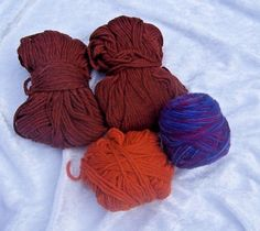 Lot of Orange Brown Blue Purple Yarn 105 grams total 3 diff colors Craft Lot  #Unbranded #Mixed