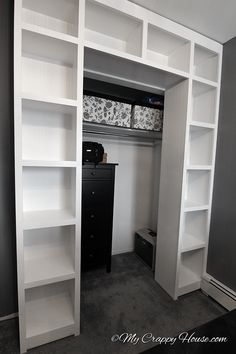 built in bookshelves around a closet, closet, diy, storage ideas, woodworking projects bedroom storage Closet Doors, Closet Storage, Bookshelves Built In, Wood Closet Shelves, Home, Home Diy, Small Bedroom, Remodel Bedroom, Closet Bedroom