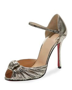 Marchavekel+Knotted+d\'Orsay+Red+Sole+Pump,+Gold+by+Christian+Louboutin+at+Neiman+Marcus.
