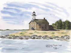 Sheffield Island Light, Rowayton Watercolor prints and note cards of over 250 lighthouses all over the USA.  Start your collection today. Original paintings by sailor/artist  Alfred La Banca, Darien, CT