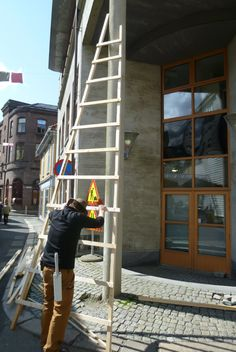 ...climbing a ladder