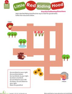 First Grade Geometry Comprehension Worksheets: Locations, Locations! Little Red Riding Hood Mazes For Kids, Fun Activities For Kids, Kindergarten Activities, Red Riding Hood Story, Red Riding Hood Party, Little Red Hood, Little Red Ridding Hood, Traditional Fairy Tales, Have Fun Teaching