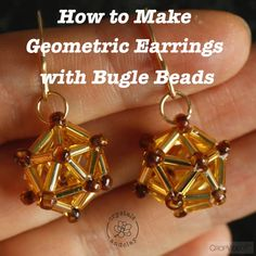 Learn step-by-step how to use bugle beads to create a pair geometric earrings You are in the right place about DIY Wire Earrings face Here we offer you the most beautiful Beaded Earrings Patterns, Jewelry Patterns, Beading Patterns, Diy Jewelry, Beaded Jewelry, Jewelry Making, Handmade Jewelry, Handmade Wire, Bead Jewellery