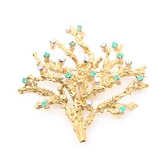 18K Yellow Gold Diamond and Emerald Tree Brooch