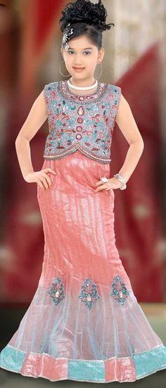 Fashionable Peach Net Lehenga Choli