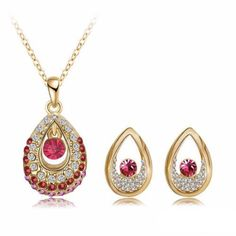 Gold Plated Antique Crystal Necklaces + Earrings