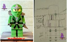 Front view of my 3D standing Lego Ninjago Green Ninja cake in a side-by-side with the quick sketch of the internal structure that I made for the client. Purple are bubble tea straws, green are the nuts. I chose to bury the thick board in the RKT leg section (just under the curved portion) so that the body could be made fully of cake with only a thinner board underneath and one at the midsection of the torso. I could have had two rods straight up all the way but miscalculated the height....