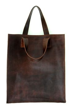 ELF - Brown leather shopper bag. Handmade from high quality material. SIMPLICITY collection