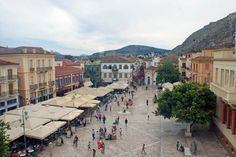 View of Syntagma Square from the 2nd floor of the Nafplio Archaeological Museum in the Peloponnese - Greece