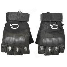 Outdoor Anti-Skid Tactical Half Finger Gloves - Black (Size L) Price: $13.40