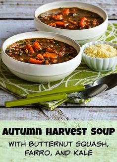 Autumn Harvest Soup with Butternut Squash, Kale, and Farro or Brown Rice; this delicious soup can be made with vegetable stock for a #MeatlessMonday lunch or dinner.  [from KalynsKitchen.com] #ButternutSquashSoup