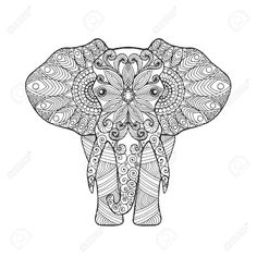 Elephant. Adult Antistress Coloring Page. Black White Hand Drawn.. Royalty  Free Cliparts, Vectors, And Stock Illustration. Image 52125497.