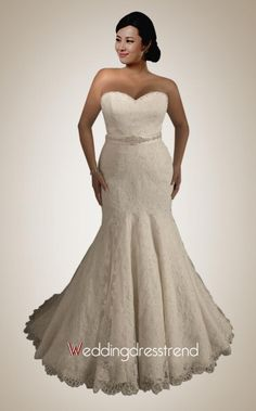 Wholesale and Retail Sweetheart Beaded Belt Mermaid/Trumpet Lace Bridal Gown - the Best Wedding Dresses Wholesale and Retail Online Store