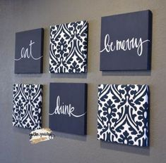 Navy Blue Eat Drink & Be Merry Wall Art Pack of 6 Canvas Wall decor diy canvas This item is unavailable