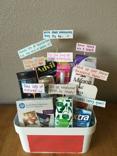 Made this Senior Year Survival Kit for my BFF. Having just graduated last year I… Made this Senior Year Survival Kit for my BFF. Having just graduated last year I thought I knew what to include: High School Graduation Gifts, Graduation Presents, Graduation Diy, Grad Gifts, Graduation Gift Baskets, Graduation Gifts For Best Friend, Boyfriend Graduation Gift, Dorm Gifts, College Gift Baskets
