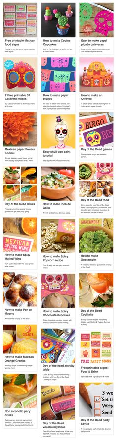 24 party ideas for Day of the Dead or Dia de los Muertos. Crafts, printables, food and drink recipes, games and activities. https://happythought.co.uk/day-of-the-dead-ideas #dayofthedead #eldiadelosmuertos