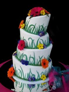 Topsy turvy flowers and grass cake.
