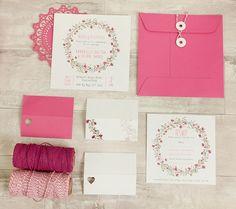 RSVP y flores guirnalda rosa Plaza invitación Set - (juego de 50)