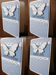 handmade notecard set ... Butterfly Lace Stationery ... good basic design in blue and white ... all same design ... alll different embossing folder texture on base card and different big fond sentiment ... lovely group ....