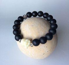 Black Onyx Bracelet Mens Bracelet Buddha Bracelet by BeDazzledByJR