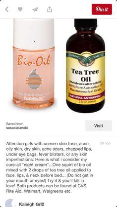 Bio oil & Tea Tree oil SkinCareSecretRemedies TeaTreeOilUses is part of Beauty skin - Bio oil & Tea Tree oil SkinCareSecretRemedies TeaTreeOilUses Beauty Care, Beauty Skin, Beauty Hacks, Diy Beauty, Homemade Beauty, Face Beauty, Beauty Makeup, Skin Tips, Skin Care Tips