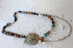 Vintage Rhinestone, Gemstones, Pearls Asymmetrical Necklace